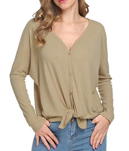 MOUEEY Womens Loose Long Sleeve V Neck Button Down Henley Shirts Tie Front Knit Tunic Blouse Top Khaki S