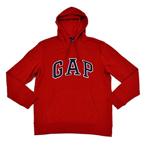 (GAP Mens Fleece Arch Logo Pullover Hoodie (Red, Large))