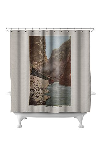 Royal Gorge, Colorado - View of Train Alongside River - Vintage Halftone (71x74 Polyester Shower Curtain)