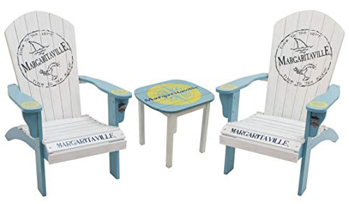 Adirondack Chair with Matching Outdoor Side Table| Margaritaville Painted Wood Fins to The Left Logo Adirondack Chairs (Set of 2 | New 2019) with Integrated Bottle Opener + Matching Outdoor Nautica