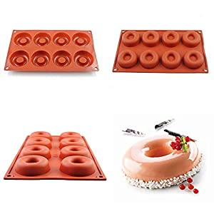 1 piece UARTER Non-stick 8 Cavity Pan Donut Muffin Baking Pan Savarin Soap Mould Silicone Baking Mold Suitable for Making Soap