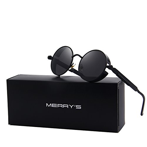 MERRY'S Gothic Steampunk Sunglasses for Women Men Round Lens Metal Frame S567(Black, 46) (Steampunk Fashion Male)