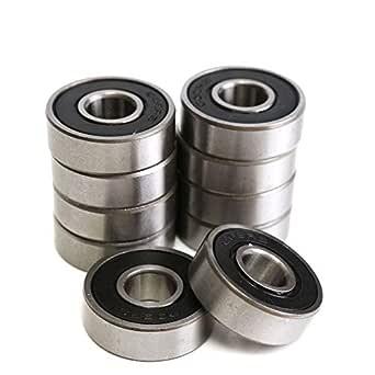 608RS 8 x 22 x 7 mm Deep Groove Ball Bearing, 10 Pcs 608 2RS, Double Black Rubber Sealed Ball Bearings, Fit for Skateboard Bearings, 3D Printer RepRap Wheel, Roller Skates, Inline Skates (Pack of 10)