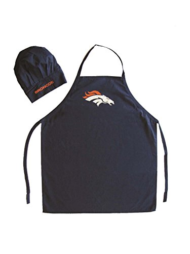 NFL Denver Broncos Chef Hat and Apron Set, Navy, One Size]()