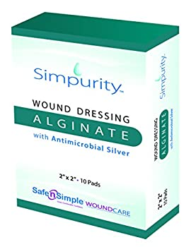 Simpurity Alginate Wound Dressing with Antimicrobial Silver, 2 Inch x 2 Inch, 10 Count