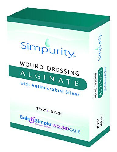 Simpurity Alginate Wound Dressing with Antimicrobial Silver, 2 Inch x 2 Inch, 10 Count Antimicrobial Dressing