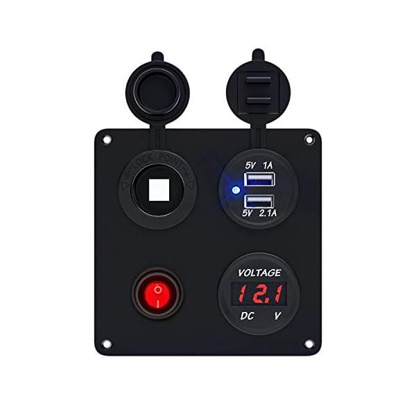 41Yg8cO74tL TR Turn Raise Dual USB Ladegerät Aluminium Schalter Panel, LED Voltmeter, 12V Steckdose + ON/OFF Schalter 4 in 1 Panel…