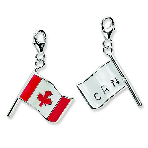 Sterling Silver 3-D Enameled Canadian Flagw/Lobster Clasp - Black Friday Sale Canadian