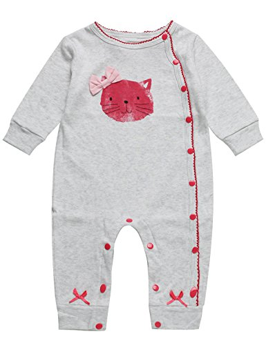 Baby Girls Pink Kitty Long Sleeve Romper with Bow-Knot (0-3 Months, - With Kitty Bow