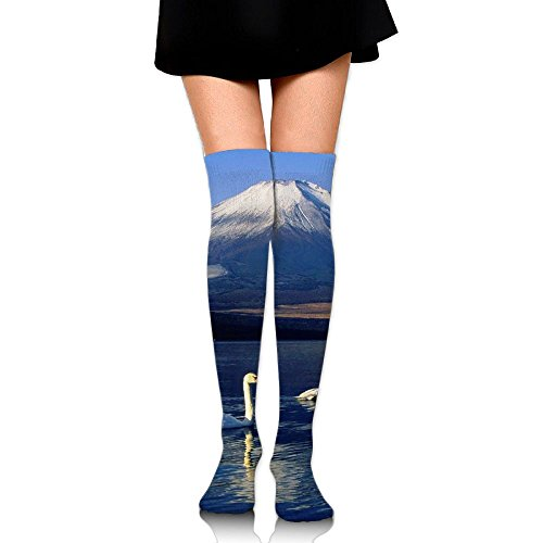 Snown Mountain And Swan Over The Knee Long Socks Tube Thigh-High Sock Stockings For Girls & Womens -