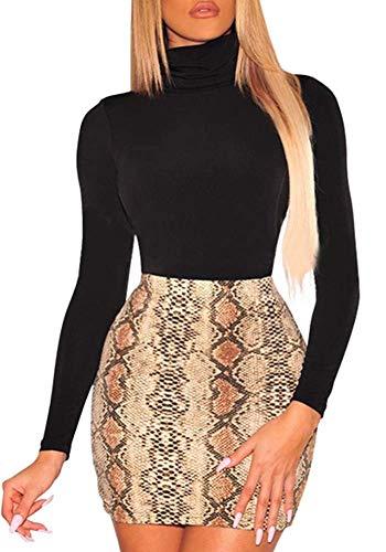 (ECHOINE Womens Sexy Casual Bodycon Snakeskin Mini Midi Skirt Dress Brown)