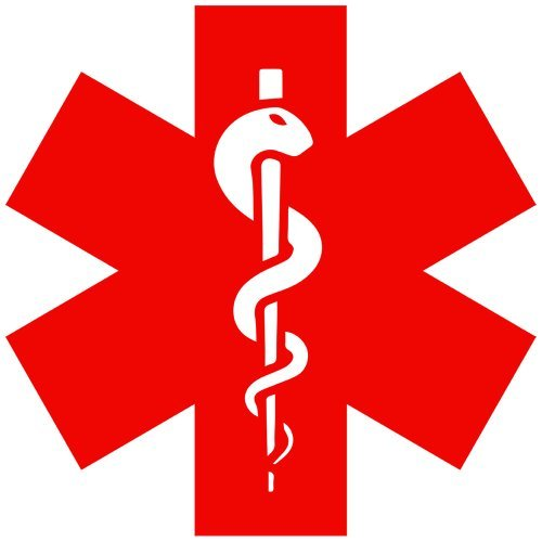 Caduceus Snake Staff Medical Symbol Decal Sticker (red), - PEEL and STICK Graphic Sticker - Decorative Bumper Window Laptop Notebook Sticker