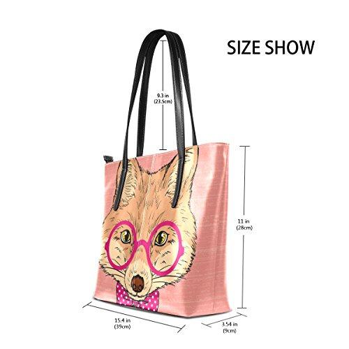 COOSUN Hand Draw Fox PU Leder Schultertasche Handtasche und Handtaschen Tasche für Frauen