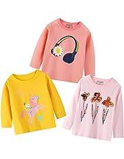 Girls 3-Pack T Shirts Teens Long-Sleeve Tee Tops Flower Unicorn Stripe Kids Tees Set Teen for 1-7T