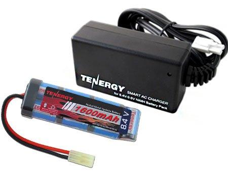 Tenergy Airsoft Battery 8.4V 1600mAh NiMH Flat Battery Pack w/Mini Tamiya Connector for Airsoft Gun + 8.4V-9.6V NiMH Battery Charger w/Mini Tamiya Connector and Standard Tamiya Adaptor