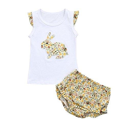 37ca8a4037fb0 service durable Voberry® Infantile Enfants Bébé Vêtements Filles Été Gilets  de lapin Floral Ensemble de