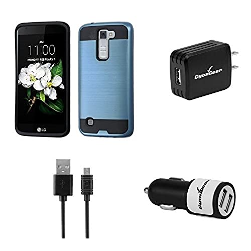 70%OFF LG Phoenix 2 K371 (AT&T) - Brushed Hybrid Armor Case [Cerulean Blue / Black], Atom LED, High Power 10W / 2.1A Wall Charger and 2.1A Dual Port Car Charger with Micro USB Cable [4 ft.]