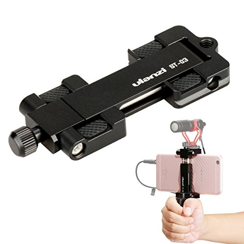 Ulanzi ST-03 Metal CNC Made Adapter Mobile Phone Holder Cold Shoe Mount,Cell Phone Tripod Holder Clip Adapter and Arca-Style Quick Release Plate for 4.3in to 7in Screen Smartphone?Black?