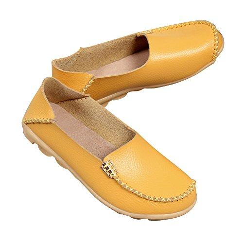 Blivener Donna Mocassini Casual A Piedi Scarpe Basse Comfort Estate Pantofole Giallo