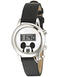 Disney Women's Mickey Mouse Sunray Dial Lizard Watch Silver MK1039