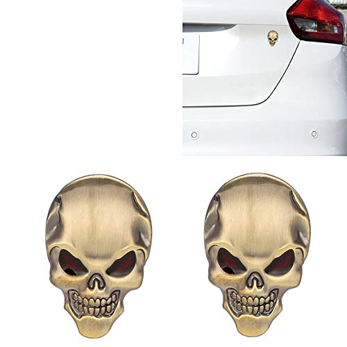 Senzeal 3D Metal Red Eyes Skull Bone Car Emblem Badge Sticker Decal(Gold Red)