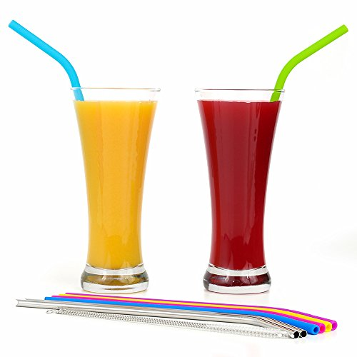 REGULAR SIZE Silicone Straws for 30 oz Tumbler & Stainless Steel Straws Bundle - 6 Silicone Straws for Yeti/Rtic / Ozark + 2 Brushes + 2 Metal Straws - Reusable Straws Extra Long + 1 Storage Pouch by Kitchen Up (Image #5)