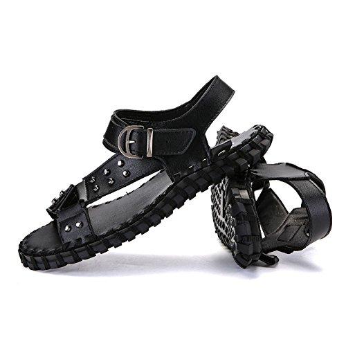 Transpirables Confortables Joker Zapatos Antideslizantes con De Zapatos Verano Abierta para Hombres Black Punta Sandalias Romanos wYURnqHq