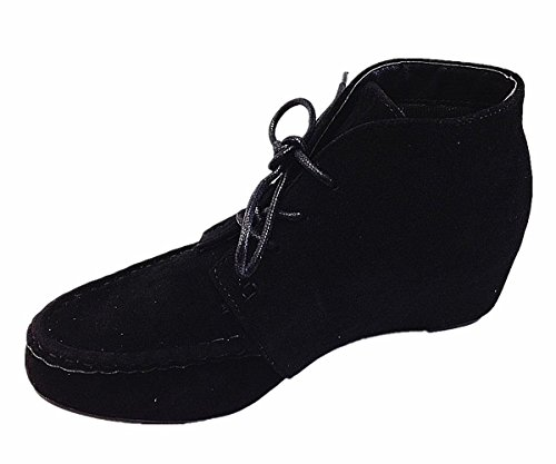 Bella Marie Campus-11 Mujeres Hot Fashion Lace Up Cuña Talón Botines Zapatos Negro