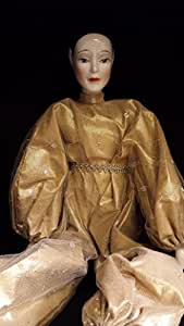 porcelain Geisha doll with gold outfit