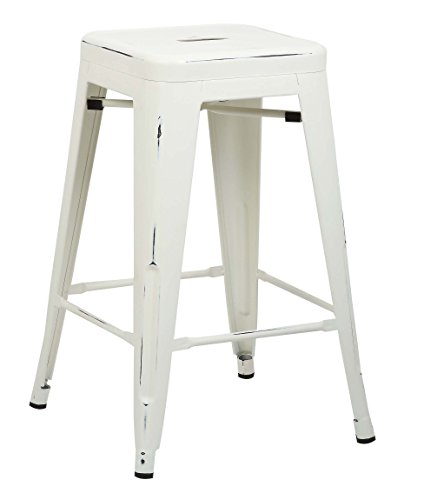 Poly and Bark Trattoria 24 Counter Height Stool in Distressed White