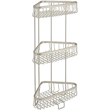 Interdesign york lyra free standing bathroom - Free standing corner bathroom shelves ...