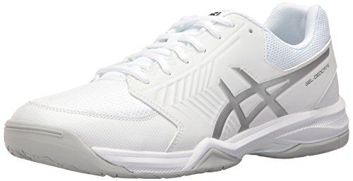 (ASICS Men's Gel-Dedicate 5 Tennis Shoe, White/Silver, 8.5 M US)