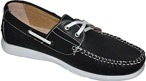 Mocassins barco con interior piel G011 Negro - negro
