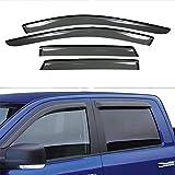 VIOJI 4pcs for 07-13 Ford Edge Lincoln MKX Dark Smoke Out-Channel Outside Mount Style Wind Sun Rain Guard Vent Shade Deflector Window Visors