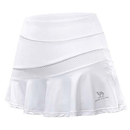 CAMELSPORTS Women Casual Active Sport Skirt Tennis Golf Skorts Pleated for Athletic Running Workout with Built-in Shorts White XXL - Knit Running Skirt