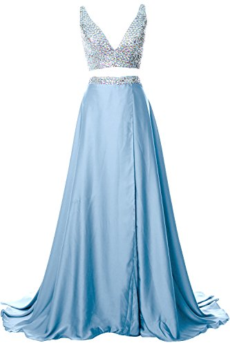 MACloth Gorgeous 2 Piece Long Prom Dress Straps V Neck Formal Party ...