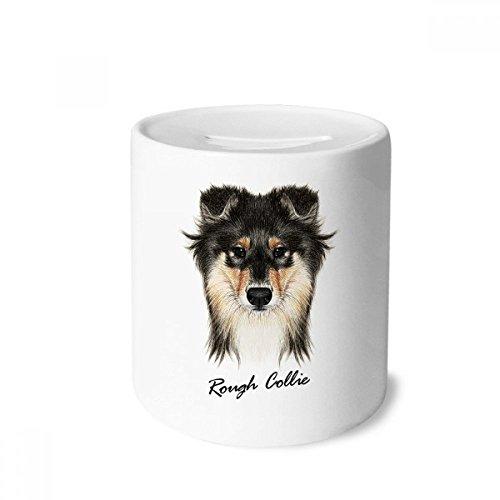 (DIYthinker Long-haired Rough Collie Pet Animal Money Box Saving Banks Ceramic Coin Case Kids Adults)