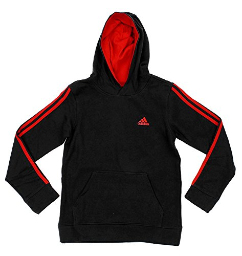 (Adidas Big Boys Youth Game Time Pullover Fleece Hoodie, Black Red)
