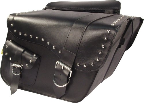 - Dowco Willie & Max 58750-01 Ranger Series: Studded Synthetic Leather Large Slant Motorcycle Saddlebag Set, Black, Universal Fit, 19 Liter Each/38 Liter Total Capacity
