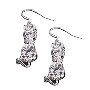 Nuevo para mujer chapado en plata de Swarowski viejísimo solapa Diamants pendientes con gancho