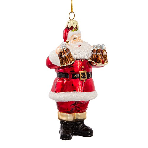 Coca-Cola Kurt Adler Glass Santa Ornament, 5-Inch (Santa Glass Claus Ornaments)