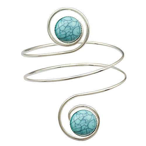 Silver Plated Egypt Cleopatra Turkey Double Blue Stone Swirl Spiral Dancer Upper Arm Cuff Armlet Armband Bangle Dia. 6.8cm(2.67