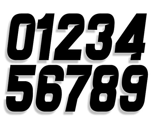 Mx & ATV Number Plate Decals | Set of 3 Decals With Your Custom Number & Color Choice | Sliced Font Style 8