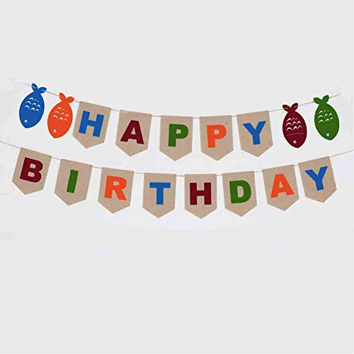 Samahara The Big One Birthday Theme Fishing Happy Birthday Banner Fish Party Supplies and Decorations for Boy or -