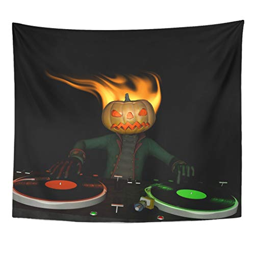 Emvency Wall Tapestry Disco Flaming Pumpkin Head is in The House and Mixing Up Some Halloween Horror Turntables with Vinyl Albums Disc Jockey Decor Wall Hanging Picnic Bedsheet Blanket 60x50 Inches