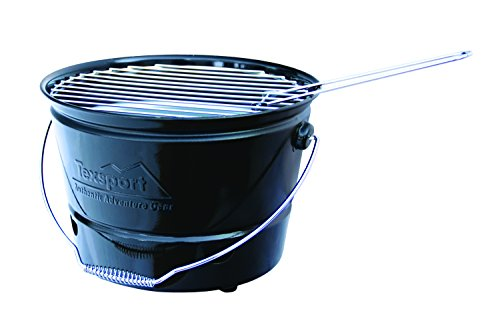 Tex Sport Portable Barbecue BBQ Bucket Grill, Black