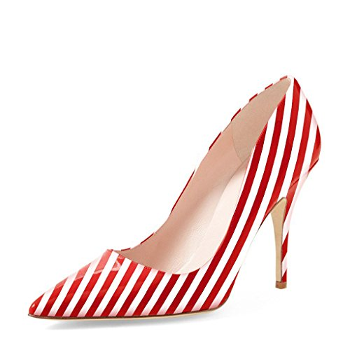 Low Heel Pointy Toe (YDN Women Classic Pointy Toe Low Heel Pumps Slip on Black and White Stripe Shoes 8 (Red-White))