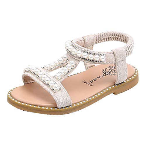 YIBLBOX Girls Sandals Pearls Gladiator Summer Beach Party Princess Shoes