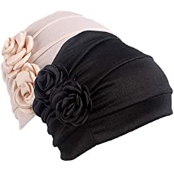 Women's Sleep Soft Headwear Chemotherapy Beanie Cap for Cancer Patients HairWrap (Color Mix)