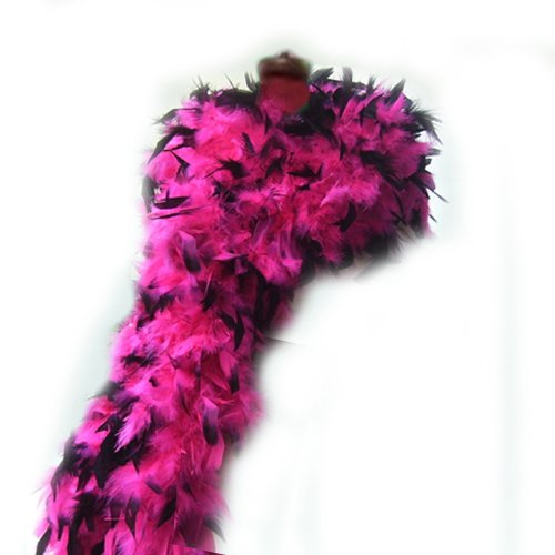 SACAS Fashion 100g Feather Chandelle Boa 6 feet long in Hot Pink Black Tips ()